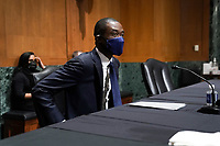 Adewale Adeyemo arrives for his Senate Finance Committee nomination hearing to be the next Deputy Treasury Secretary on Tuesday, February 23, 2021 at Capitol Hill in Washington, D.C.<br /> Credit: Greg Nash / Pool via CNP /MediaPunch