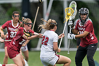 NEWTON, MA - MAY 14: Katie Shallow #13 of Temple University defends during NCAA Division I Women's Lacrosse Tournament first round game between University of Massachusetts and Temple University at Newton Campus Lacrosse Field on May 14, 2021 in Newton, Massachusetts.