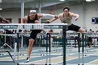 WINSTON-SALEM, NC - FEBRUARY 07: Demetrius Walker #3 of Emmanuel College and Mark Smith #2 of Wake Forest University compete in the Men's 60m Hurdles at JDL Fast Track on February 07, 2020 in Winston-Salem, North Carolina.