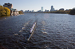 Bosporos Boat Club; Senior-Master Eights Men [50+]; 2006 Head of the Charles Regatta; Master's rowers Boston; Boston skyline; Boston skyline from the Charles River; Rowers, 2006 Head of the Charles Regatta, Cambridge, Boston, Massachusetts, USA. October 21, 2006