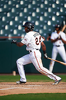 Bowie Baysox left fielder Julio Borbon (24) at bat during the first game of a doubleheader against the Akron RubberDucks on June 5, 2016 at Prince George's Stadium in Bowie, Maryland.  Bowie defeated Akron 12-7.  (Mike Janes/Four Seam Images)