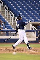Yerald Martinez (27) of the AZL Brewers bats during a game against the AZL Athletics at Maryvale Baseball Park on June 30, 2015 in Phoenix, Arizona. Brewers defeated Athletics, 4-2. (Larry Goren/Four Seam Images)