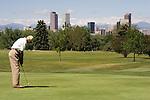 Senior citizen putting in City Park Golf Course, Denver, Colorado. .  John offers private photo tours in Denver, Boulder and throughout Colorado. Year-round Colorado photo tours.