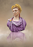 Painted colour verion of Roman marble sculpture bust of Emperor  Claudius 41-54 AD, inv 6068, Naples Museum of Archaeology, Italy