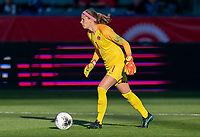 CARSON, CA - FEBRUARY 07: Stephanie Labbe #1 of Canada dribbles during a game between Canada and Costa Rica at Dignity Health Sports Park on February 07, 2020 in Carson, California.
