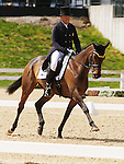 April 24, 2014: Petite Flower and Bruce Davidson Jr. compete in Dressage at the Rolex Three Day Event in Lexington, KY at the Kentucky Horse Park.  Candice Chavez/ESW/CSM