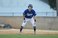 Matt Goodheart (25) (Arkansas) of the Martinsville Mustangs takes his lead off of first base against the High Point-Thomasville HiToms at Finch Field on July 26, 2020 in Thomasville, NC.  The HiToms defeated the Mustangs 8-5. (Brian Westerholt/Four Seam Images)