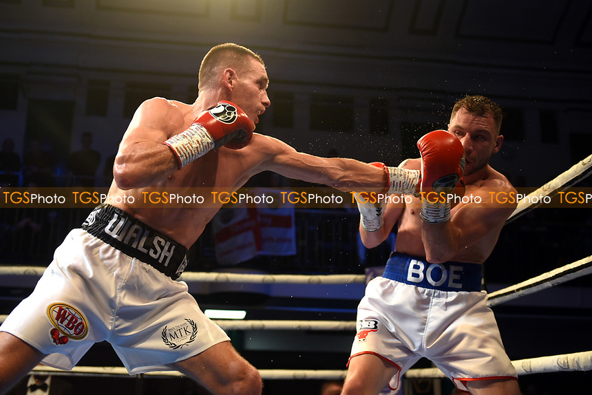 Liam Walsh (white/black shorts) defeats Maxi Hughes during a Boxing Show at York Hall on 9th November 2019