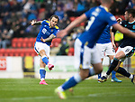 St Johnstone v Dundee…02.10.21  McDiarmid Park.    SPFL<br />Stevie May's free kick is blocked<br />Picture by Graeme Hart.<br />Copyright Perthshire Picture Agency<br />Tel: 01738 623350  Mobile: 07990 594431