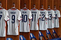 NASHVILLE, TN - SEPTEMBER 5: The jersey of Christian Pulisic #10 of the United States hangs in the locker room during a game between Canada and USMNT at Nissan Stadium on September 5, 2021 in Nashville, Tennessee.