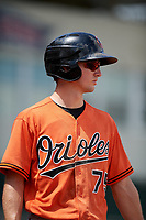 Baltimore Orioles Adam Hall (75) on deck during a Florida Instructional League game against the Boston Red Sox on September 21, 2018 at JetBlue Park in Fort Myers, Florida.  (Mike Janes/Four Seam Images)