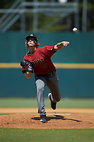 Starting pitcher Josh Hartle (15) of Ronald Wilson Reagan HS in King, NC playing for the Arizona Diamondbacks scout team during the East Coast Pro Showcase at the Hoover Met Complex on August 4, 2020 in Hoover, AL. (Brian Westerholt/Four Seam Images)