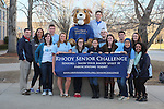 Students in the URI Philanthropy Club photographed on the Rhody The Ram statue in front of the Memorial Union on the Kingston campus of the University of Rhode Island n South Kingstown, RI on Friday, April 9, 2014. (Joe Gibln)