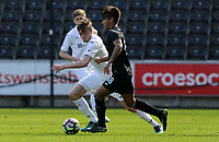 SWANSEA, WALES - MARCH 25:Federico Verela of Porto is closely marked by Ryan Blair of Swansea City during the Premier League International Cup Semi Final match between Swansea City and Porto at The Liberty Stadium on March 25, 2017 in Swansea, Wales. (Photo by Athena Pictures)