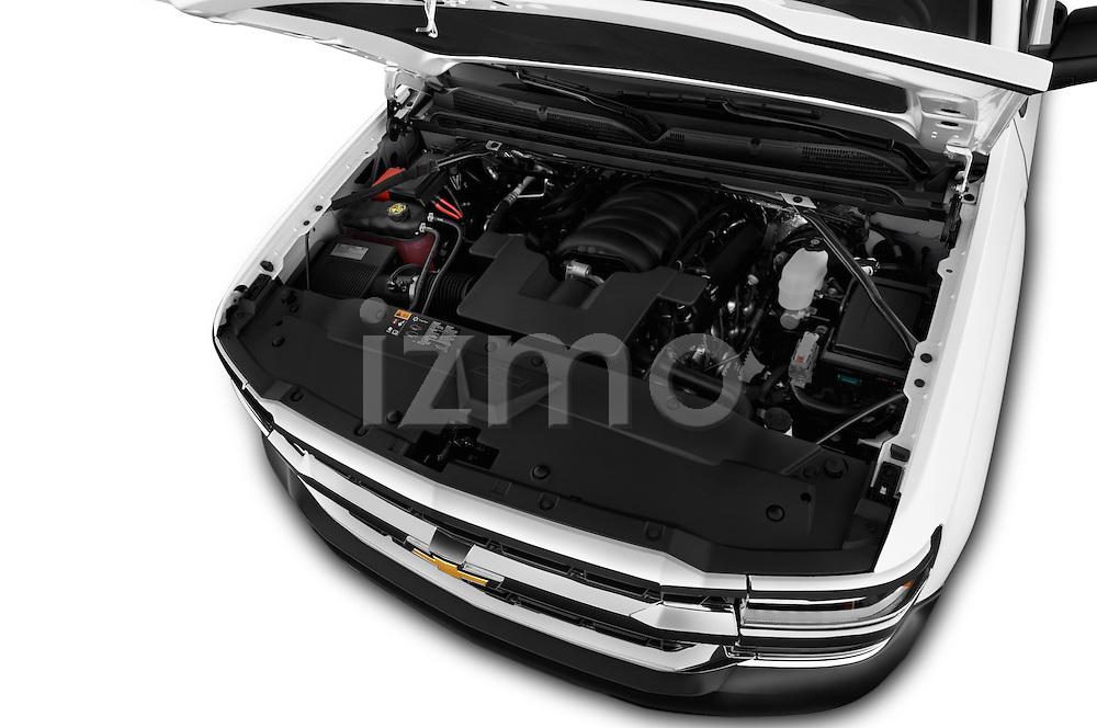 Car Stock 2018 Chevrolet Silverado 1500 1WT Regular Cab Long Box 3 Door Pick-up Engine  high angle detail view