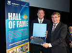 St Johnstone Hall of Fame Dinner, Perth Concert Hall...05.10.13<br /> Roddy Grant is presented his Hall of Fame Award by former Chairman Geoff Brown<br /> Picture by Graeme Hart.<br /> Copyright Perthshire Picture Agency<br /> Tel: 01738 623350  Mobile: 07990 594431