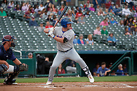 Midland RockHounds MIkey White (5) bats during a Texas League game against the Frisco RoughRiders on May 21, 2019 at Dr Pepper Ballpark in Frisco, Texas.  (Mike Augustin/Four Seam Images)