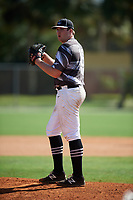 Jake Thau during the WWBA World Championship at the Roger Dean Complex on October 19, 2018 in Jupiter, Florida.  Jake Thau is a right handed pitcher from Redondo Beach, California who attends Redondo Union High School and is committed to Long Beach State.  (Mike Janes/Four Seam Images)