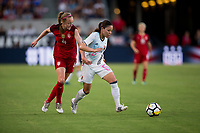 Carson, CA - Thursday August 03, 2017: Becky Sauerbrunn, Madoka Manya during a 2017 Tournament of Nations match between the women's national teams of the United States (USA) and Japan (JAP) at StubHub Center.