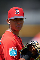 Boston Red Sox Lorenzon Cedrola (44) during a minor league Spring Training game against the Tampa Bay Rays on March 23, 2016 at Charlotte Sports Park in Port Charlotte, Florida.  (Mike Janes/Four Seam Images)