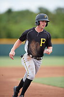 Pittsburgh Pirates Chris Sharpe (25) runs the bases during an Instructional League intrasquad black and gold game on October 13, 2017 at Pirate City in Bradenton, Florida.  (Mike Janes/Four Seam Images)