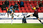 St Johnstone v Kilmarnock…24.11.18…   McDiarmid Park    SPFL<br />Matty Kennedy's shot deflects off Alan Power and carshes into the crossbar<br />Picture by Graeme Hart. <br />Copyright Perthshire Picture Agency<br />Tel: 01738 623350  Mobile: 07990 594431