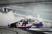 #11: Denny Hamlin, Joe Gibbs Racing, Toyota Camry FedEx Freight celebrates with a burnout after winning