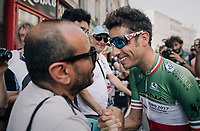 Italian champion Fabio Aru (ITA/Astana) greeting some friends at the start<br /> <br /> 104th Tour de France 2017<br /> Stage 16 - Le Puy-en-Velay › Romans-sur-Isère (165km)