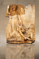 Photo of Roman releif sculpture of Roma & Ge [ Earth ] from  Aphrodisias, Turkey, Images of Roman art bas releifs. Buy as stock or photo art prints. art