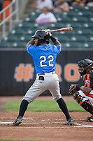 Angel Perez (22) of the Hudson Valley Renegades at bat against the Aberdeen IronBirds at Leidos Field at Ripken Stadium on July 27, 2017 in Aberdeen, Maryland.  The Renegades defeated the IronBirds 2-0 in game one of a double-header.  (Brian Westerholt/Four Seam Images)