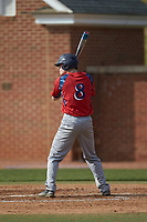 Matthew Cocciadiferro (8) of the NJIT Highlanders at bat against the High Point Panthers at Williard Stadium on February 18, 2017 in High Point, North Carolina. The Panthers defeated the Highlanders 11-0 in game one of a double-header. (Brian Westerholt/Four Seam Images)