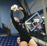 Kennedy Meadors (2) sets ball against Har-ber on Tuesday, October 12, 2021, during play at Wildcat Arena, Springdale. Visit nwaonline.com/211013Daily/ for today's photo gallery.<br /> (Special to the NWA Democrat-Gazette/David Beach)