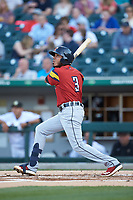 Harold Castro (3) of the Toledo Mud Hens follows through on his swing against the Charlotte Knights at BB&T BallPark on April 23, 2019 in Charlotte, North Carolina. The Knights defeated the Mud Hens 11-9 in 10 innings. (Brian Westerholt/Four Seam Images)