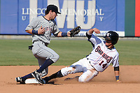 Huntsville Stars second baseman Scooter Gennett #2 fields the throw from the catcher as Logan Watkins slides in safely during a game against the Tennessee Smokies at Smokies Park on August 12, 2012 in Kodak, Tennessee. The Smokies defeated the Stars 4-0. (Tony Farlow/Four Seam Images).