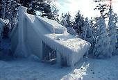 Ice covered cabin along Lake Superior, in Michigan's Upper Peninsula.