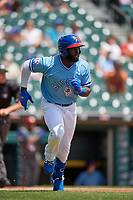 Buffalo Bisons Anthony Alford (26) runs to first base during an International League game against the Lehigh Valley IronPigs on June 9, 2019 at Sahlen Field in Buffalo, New York.  Lehigh Valley defeated Buffalo 7-6 in 11 innings.  (Mike Janes/Four Seam Images)