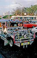 Philippines: Manila--Jeepney in traffic. Photo '82.