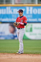 New Hampshire Fisher Cats second baseman Cavan Biggio (6) during the first game of a doubleheader against the Harrisburg Senators on May 13, 2018 at FNB Field in Harrisburg, Pennsylvania.  New Hampshire defeated Harrisburg 6-1.  (Mike Janes/Four Seam Images)