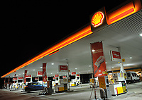 Shell Petrol station at night in Merthyr Tydfil Wales, UK