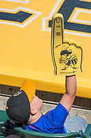 A young fan at Smith's Ballpark, home of the Salt Lake Bees, during the game against the El Paso Chihuahuas in Pacific Coast League action at Smith's Ballpark on July 26, 2015 in Salt Lake City, Utah. El Paso defeated Salt Lake 6-3 in 10 innings.  (Stephen Smith/Four Seam Images)