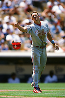 Scott Rolen of the Philadelphia Phillies during a game against the Los Angeles Dodgers at Dodger Stadium circa 1999 in Los Angeles, California. (Larry Goren/Four Seam Images)