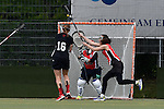 GER - Hannover, Germany, May 30: During the Women Lacrosse Playoffs 2015 match between DHC Hannover (black) and SC Frankfurt 1880 (red) on May 30, 2015 at Deutscher Hockey-Club Hannover e.V. in Hannover, Germany. Final score 23:3. (Photo by Dirk Markgraf / www.265-images.com) *** Local caption *** (L-R) Inga Hupka #8 of SC 1880 Frankfurt, Anna Blank #16 of DHC Hannover, Celina Aniolek #40 of SC 1880 Frankfurt, Jana Dejdar #11 of SC 1880 Frankfurt