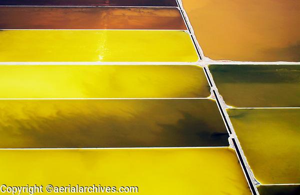 aerial photograph of salt pond crystallizers, Napa, California