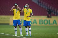 4th June 2021; Beira-Rio Stadium, Porto Alegre, Brazil; World Cup 2022 qualifiers; Brazil versus Ecuador; Casemiro and Danilo of Brazil take a water break