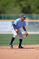 Tampa Bay Rays Kevin Santiago (55) during a minor league Spring Training game against the Baltimore Orioles on March 29, 2017 at the Buck O'Neil Baseball Complex in Sarasota, Florida.  (Mike Janes/Four Seam Images)