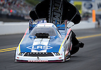 Sept. 17, 2011; Concord, NC, USA: NHRA funny car driver Tim Wilkerson during qualifying for the O'Reilly Auto Parts Nationals at zMax Dragway. Mandatory Credit: Mark J. Rebilas-US PRESSWIRE