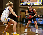 SIOUX FALLS, SD - MARCH 6: Claire Killian #11 of the Omaha Mavericks looks for a teammate against Madysen Vlastuin #22 of the South Dakota State Jackrabbits during the Summit League Basketball Tournament at the Sanford Pentagon in Sioux Falls, SD. (Photo by Dave Eggen/Inertia)