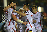Ulster's Dan Tuohy celebrates scoring his sides first try with  his team-mate s<br /> <br /> Rugby - Cardiff Blues v Ulster - Sportingwales- Friday 19th September 2014 - Cardiff Arms Park  - Cardiff<br /> <br /> © www.sportingwales.com- PLEASE CREDIT Ian Cook