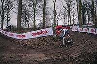 Wout Van Aert (BEL/Crelan-Charles) leading by over 2 minutes<br /> <br /> Elite Men's Race<br /> UCI CX Worlds 2018<br /> Valkenburg - The Netherlands