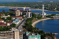 TANZANIA Daressalaam, bay and seaport, PIL container ship sailing to indian ocean